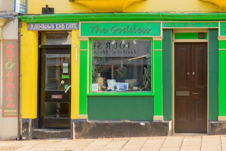 Shop - The Goddess & the Green Man and the Rainbows End Cafe, Glastonbury, Somerset, England.