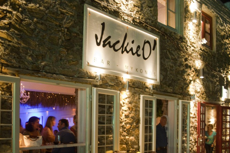 Greece, the Cyclades, Mykonos, Mykonos town, Chora, 'Jackie O.' is at the moment the Inn bar in the Old Town,