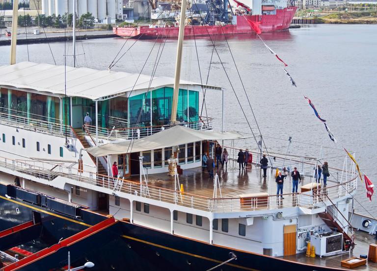 UK, Scotland, Lothian, Edinburgh, Leith, Ocean Terminal, View of the Royal Yacht Britannia.