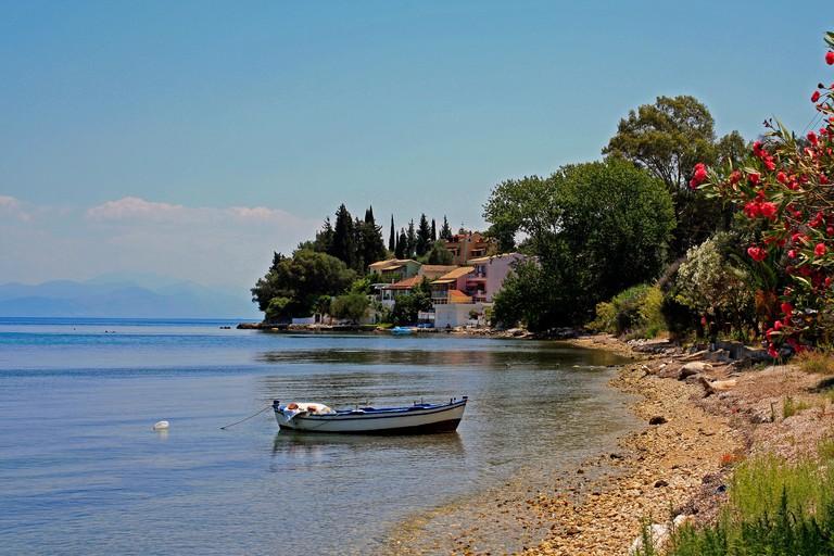 Benitses Beach View Corfu Greek Ionian Island Greece EU European Union Europe