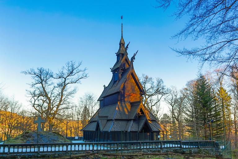 Fantoft Stave kirke (church). Bergen, Norway.