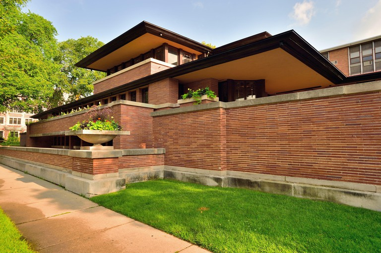 The Frederick C. Robie House, a Frank Lloyd Wright home built between 1908-10. Chicago, Illinois, USA.