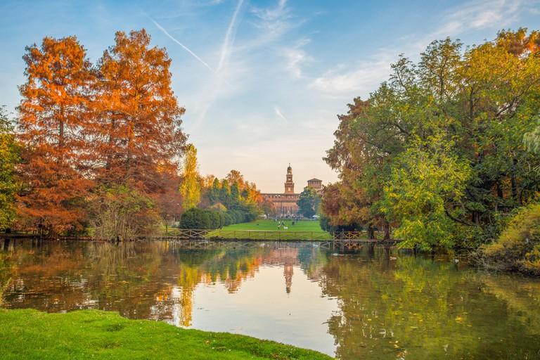 Sforza Castle (Castello Sforzesco), view from Parco Sempione, (Sempione Park), in Milan, Italy.
