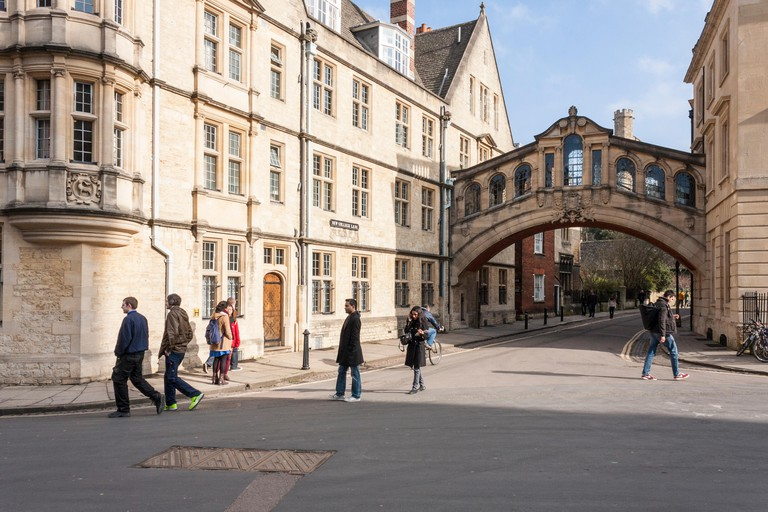 Hertford Bridge, commonly known as the Bridge of Sighs,  joins two parts of Hertford College at Oxford University, Oxfordshire, England, GB, UK.