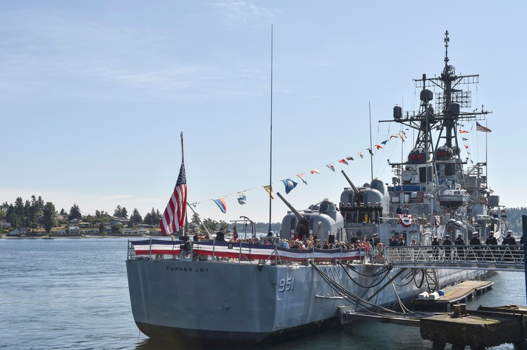 Pacific Northwest Sailors and Marines aboard USS Turner Joy to observe the museum's annual Memorial Day ceremony.