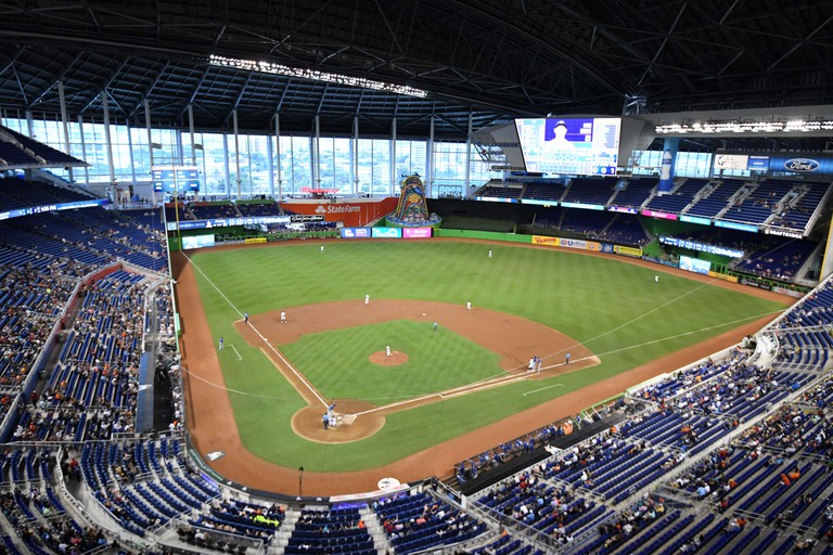 Miami, United States. 02nd Sep, 2018. General overall view of Marlins Park during a MLB baseball game between the Toronto Blue Jays and the Miami Marlins in Miami, Sunday, Sept. 2, 2018. Photo via Credit: Newscom/Alamy Live News