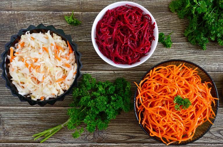 Spicy Korean salads in bowls