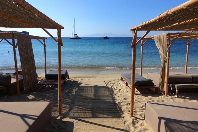Scorpios Bar is based on Paraga beach, Mykonos island, Greece.