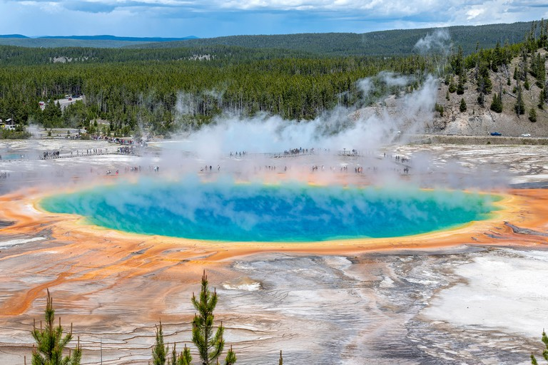 Grand Prismatic Spring Pool at Yellowstone National Park Wyoming, USA