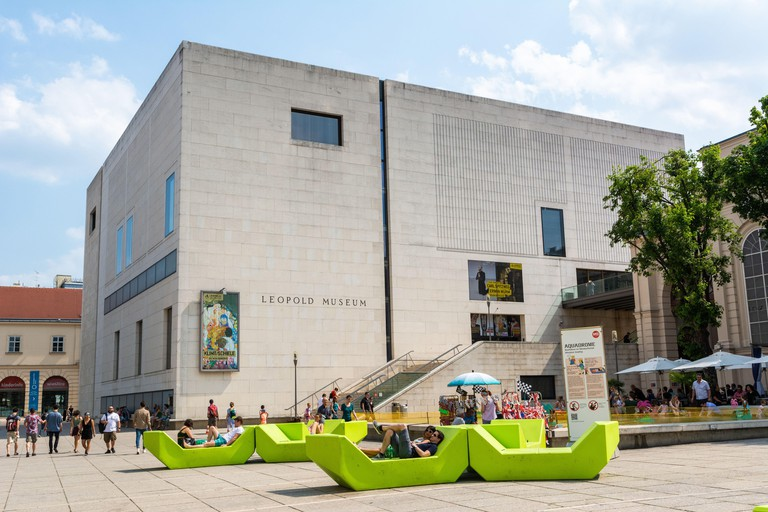 Vienna, Austria ? June 3, 2017. Exterior view of Leopold Museum on Museumsplatz in the Museumsquartier in Vienna, with people.