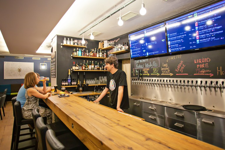 BeerGeek Bar offers 32 different taps of craft beers that rotate on a daily basis
