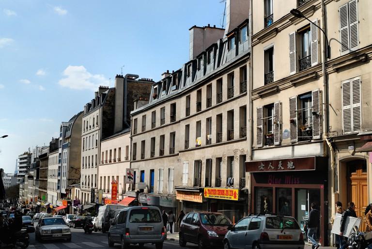 View of Rue de Belleville in Paris.