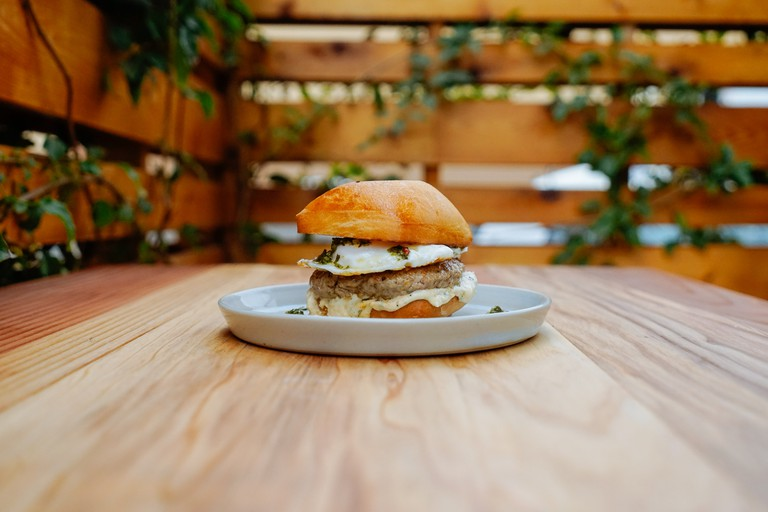 Breakfast Sandwich with fried eggs at All Time