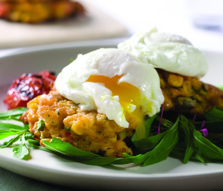 Corn fritters with poached egg is a standout dish at Cappy's