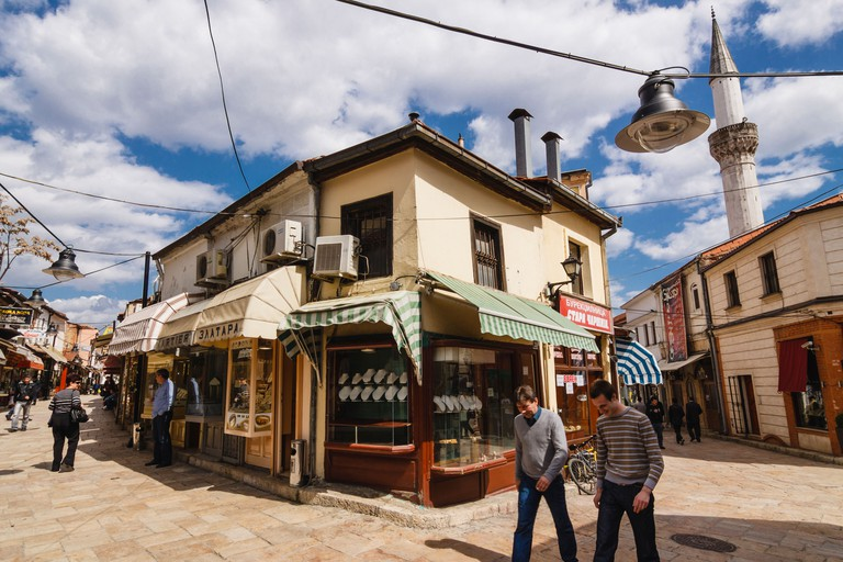 People at Carsija district-Old Bazaar in Skopje, Macedonia