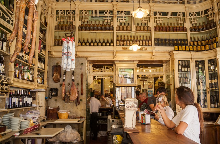 The famous El Rinconcillo Tapas bar in Seville. Said to be the oldest Tapas bar in the city. Seville, Andalusia, Spain