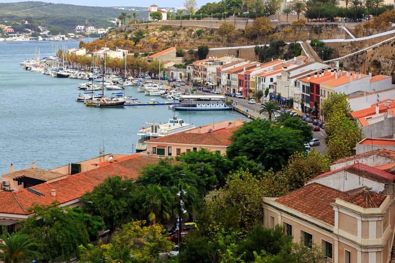 Marina and promenade at Mahon, Menorca, Balearic Islands, Spain