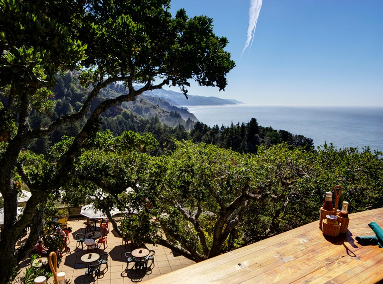 Overlooking Pacific Ocean, Los Padres National Forest and Cafe Kevah from verandah of Nepenthe Restaurant, Big Sur, California.