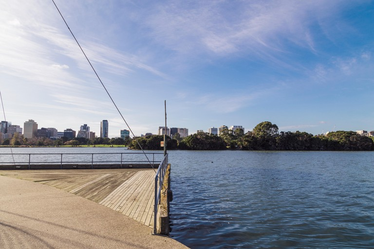 Albert Park Lake offers walkers an unparalleled view of the city skyline