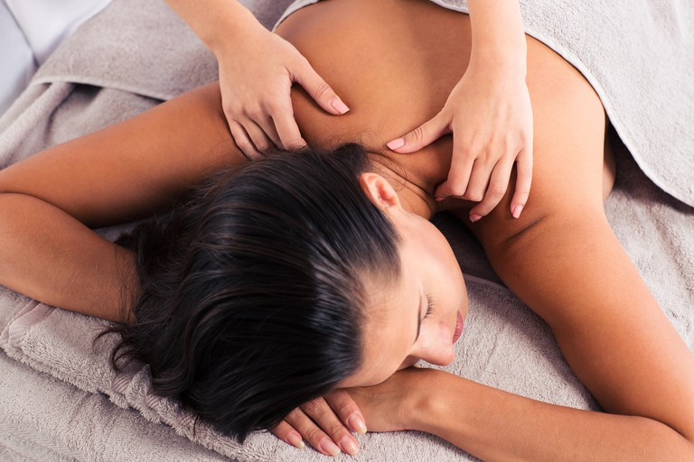 Women being massaged in a spa