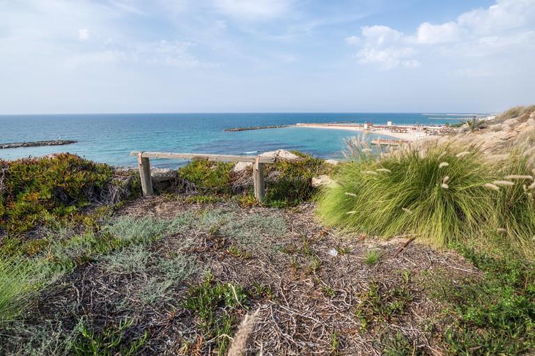 Mediterranean Sea seen from walkway in The Independence Park (Gan ha-Atsmaut) in Tel Aviv city, Israel