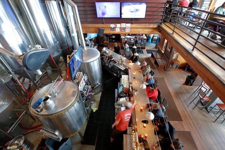 Beer tanks and bar, Breckenridge Brewery, Breckenridge, Colorado USA