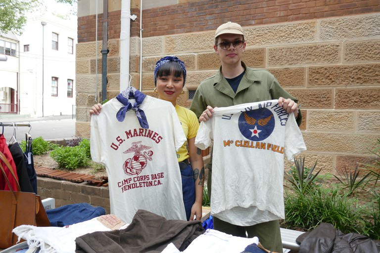 Vintage clothes sellers at Glebe Markets