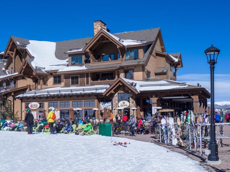 Afternoon outside Seven's, Peak 7 base area, winter, Breckenridge Ski Resort, Breckenridge, Colorado.