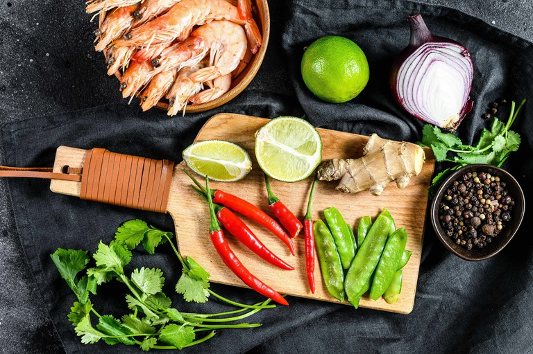 Ingredients for cooking Tom Kha Gai. Thai chicken soup in coconut milk