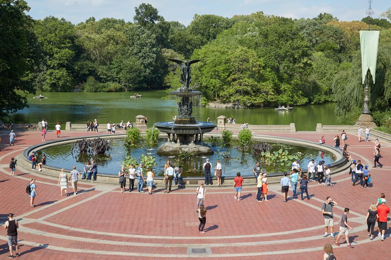 Bethesda Fountain with people view from the terrace in Central Park in a sunny day in New York