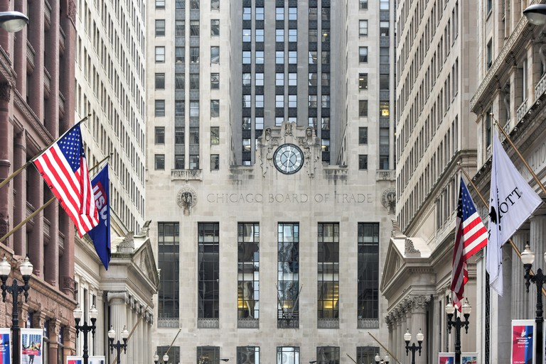 The Chicago Board of Trade Building houses the city's oldest futures and options exchange