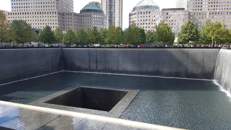 One of the two pools that are part of the National September 11 Memorial