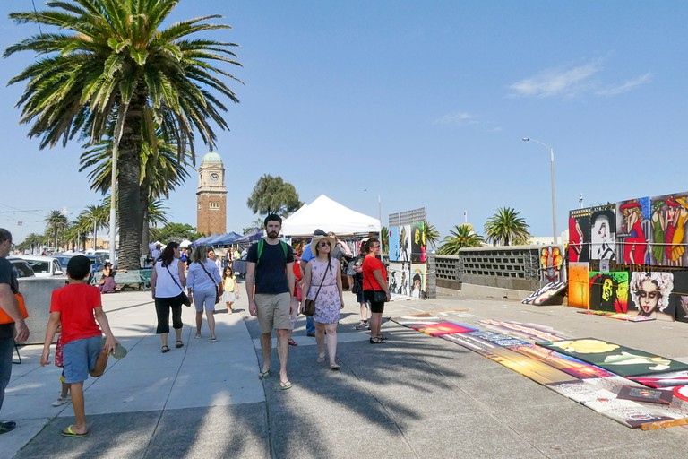 St Kilda Esplanade Market with over 140 stalls selling a diverse selection of handmade items