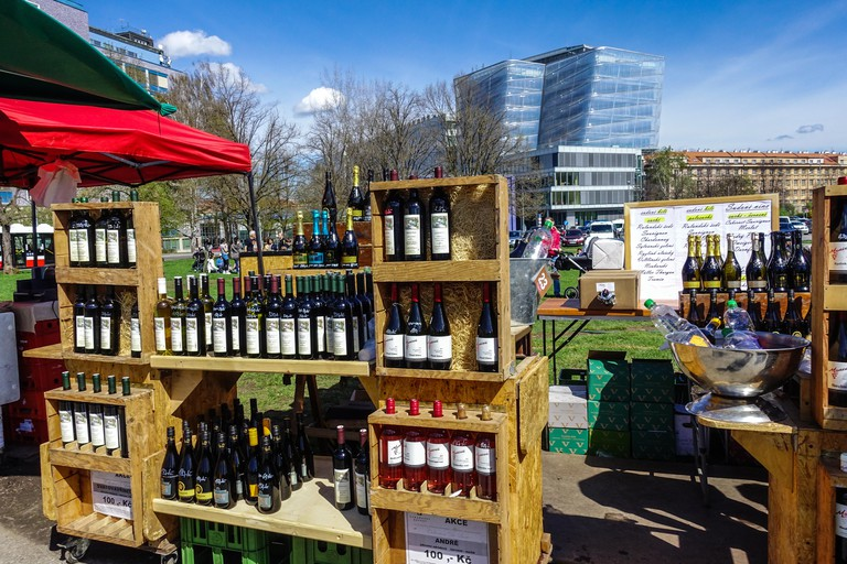 Wine stall at Farmers market in Dejvice, Prague