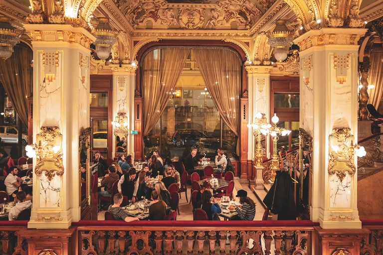 The historical cafe inside the New York Palace in Budapest