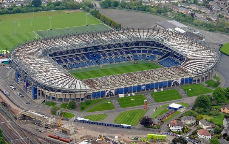 Aerial view of BT Murrayfield Stadium, Edinburgh.