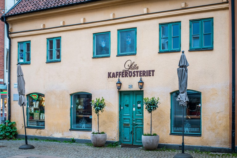 Lilla Kafferosteriet, Exterior of an ancient coffee shop in the old town of Malmoe, Sweden.