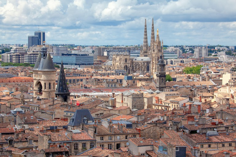 Bordeaux old town aerial view