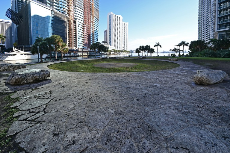 Miami, Florida 01-24-2021 Miami Circle, an archeological site at Brickell Point attributed to Tequesta Indians thought to be 2,000 years old.