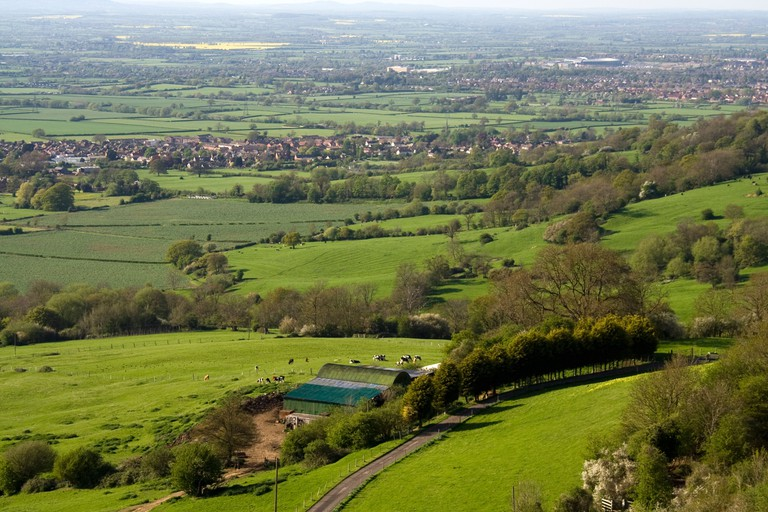 Views from Crickley Hill Country park near Gloucester and Cheltenham site of Neolithic Iron Age Hillfort Gloucestershire The Mi