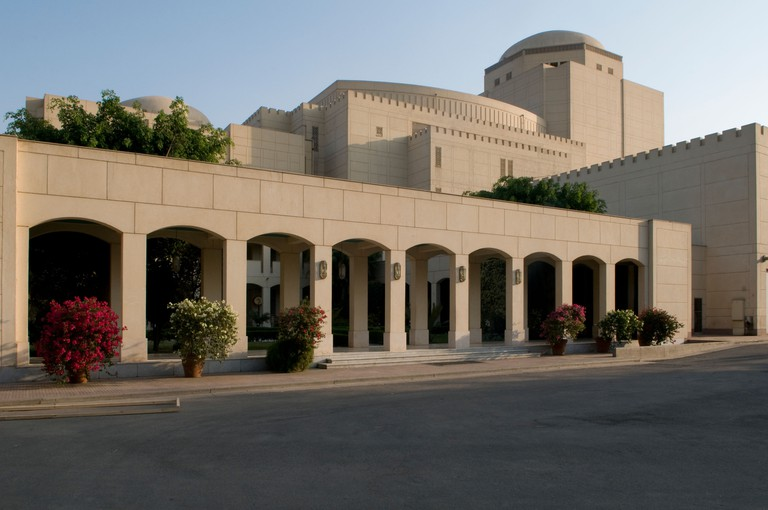 View of the Cairo Opera House at the National Cultural Center located in Zamalek district on the Nile island of Gezira in Cairo Egypt
