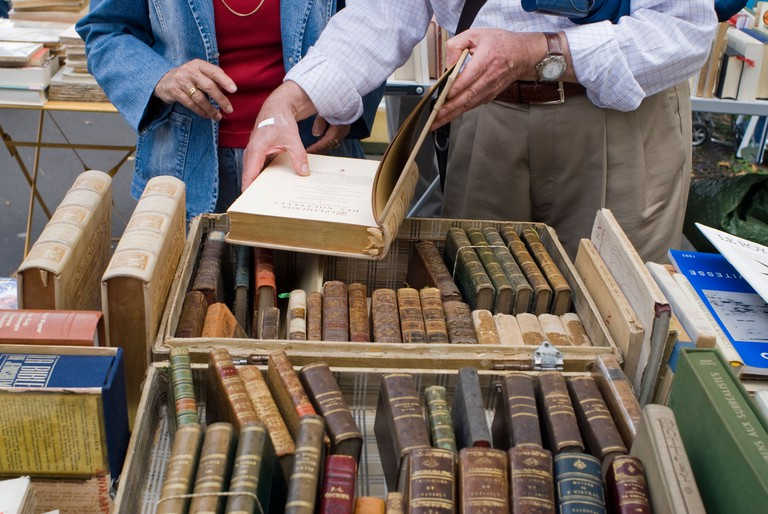 People at a book stall, Paris