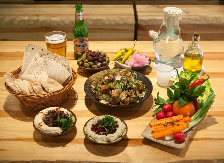 Display of Lebanese Dishes at Yalla Yalla Restaurant London