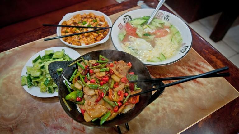 Chinese vegetarian food in restaurant in Beijing