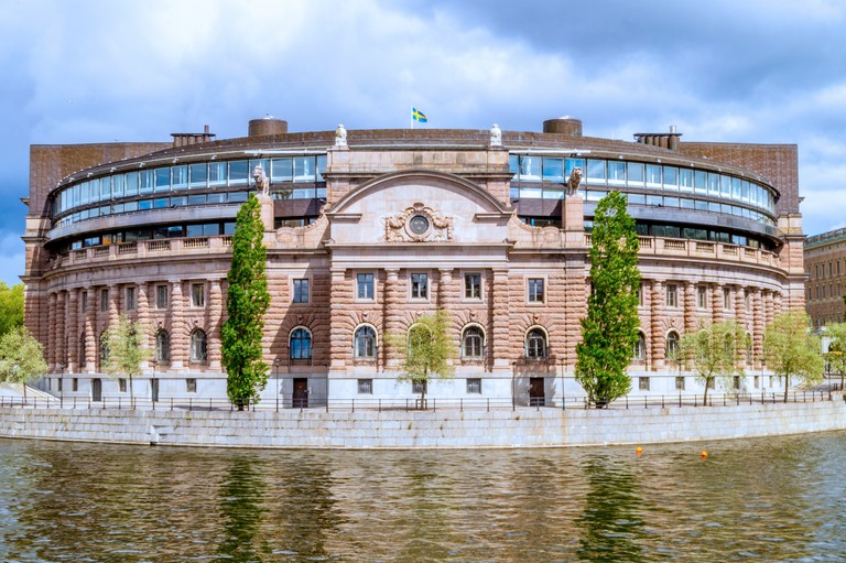 The Riksdag sits on the tiny island of Helgeandsholmen