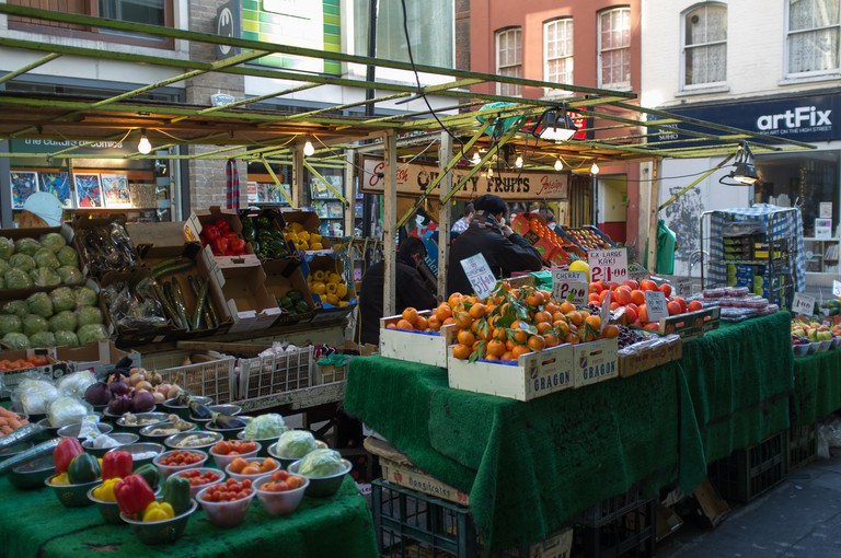 Berwick Street Market is lined with fruit and veg stalls