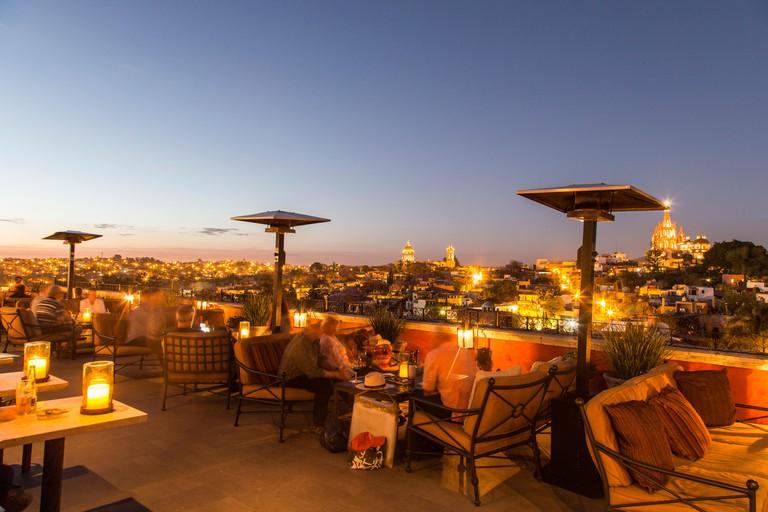 Rosewood Luna Rooftop Bar, San Miguel de Allende, Mexico.