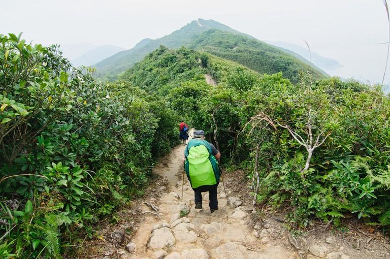 Hiking on the Dragon's Back trail, Hong Kong