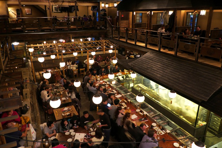 Dining in Gonpachi, also known as the Kill Bill restaurant, in Nishi-Azabu, Ginza, Tokyo