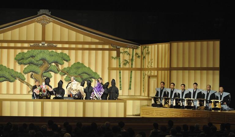 'Kotobukishiki Sanbaso' a piece in Japanese traditional puppet theater known as bunraku, is performed at the National Bunraku Theatre in Osaka.